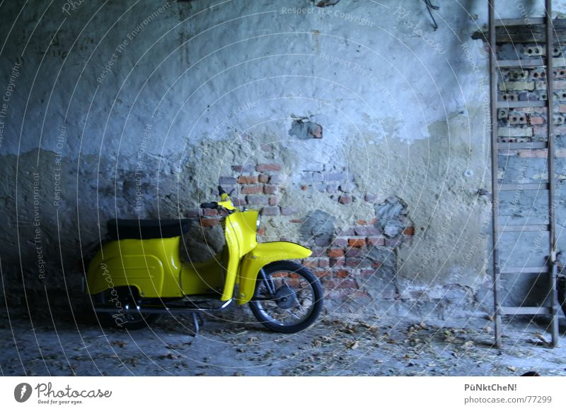 Old Yellow Wall (building) Wheel Ladder Seating Engines Scooter Bicycle handlebars Swallow