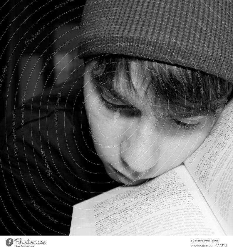 BOOKMARK Cap Portrait photograph Book Letters (alphabet) Man Masculine Grief Reading Literature Print media Think Remember Thought Human being