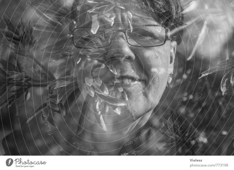 Woman Face Adults Feminine Head 45 - 60 years Fantastic Eyeglasses Facial expression Double exposure