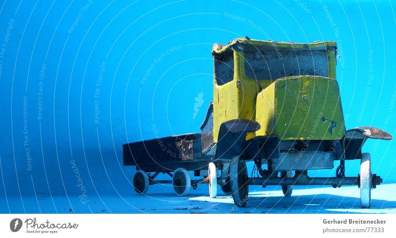 Old Sun Blue Yellow Wait Logistics Truck Parking Tin Tin toy
