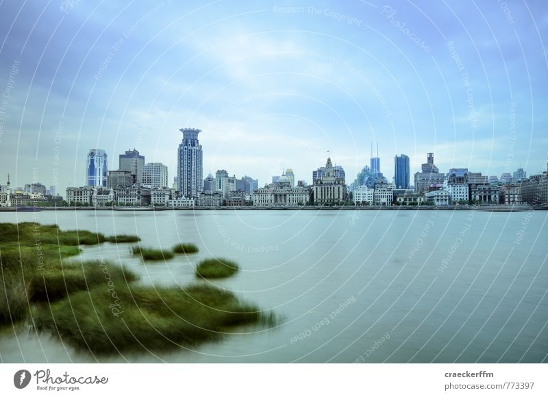 Shanghai River Town Downtown Skyline Deserted Tourist Attraction Vacation & Travel Cold Blue 2014 China cityscape Colour photo Exterior shot Day Long exposure