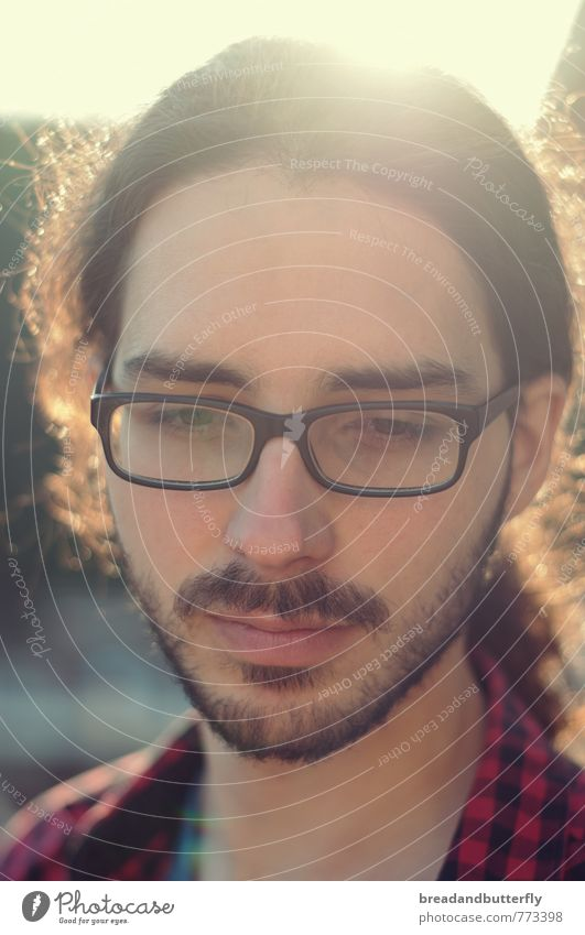 Human being Youth (Young adults) Man Beautiful 18 - 30 years Young man Face Adults Think Moody Dream Masculine Meditative Eyeglasses Uniqueness Facial hair