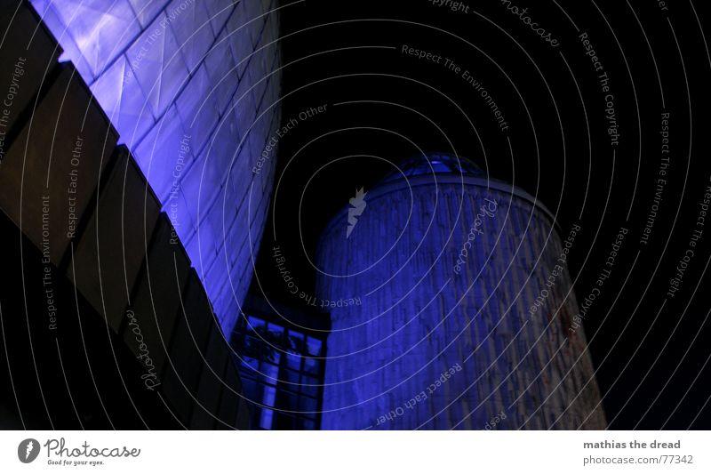 ? Planetarium House (Residential Structure) Building Night Light Worm's-eye view Facade Prenzlauer Berg tile tiles light installation Tower Sphere Blue
