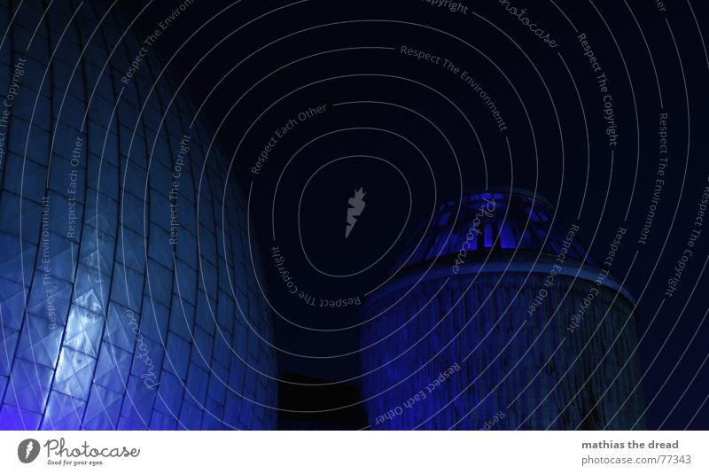 ?? Planetarium House (Residential Structure) Building Night Light Worm's-eye view Facade Prenzlauer Berg tile tiles light installation Tower Sphere Blue