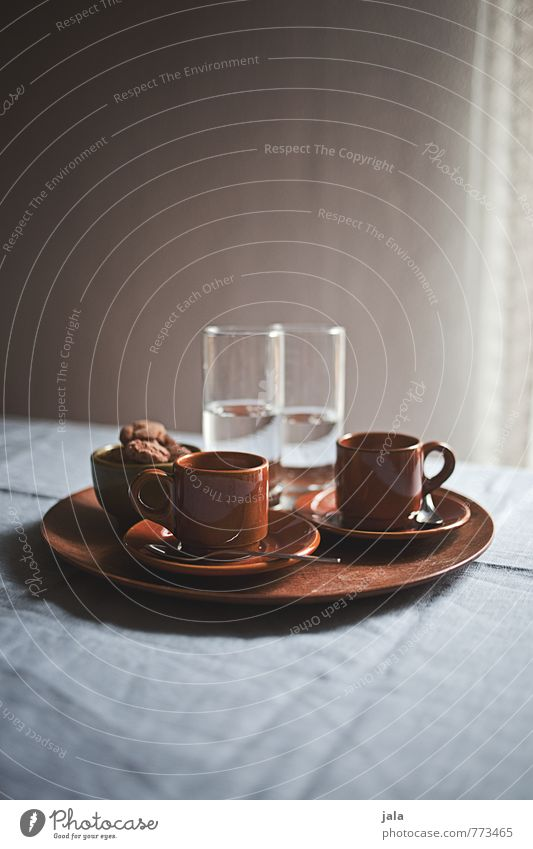 espresso To have a coffee Beverage Cold drink Drinking water Espresso Crockery Cup Glass Tray Esthetic Good Delicious To enjoy Thirst Colour photo Interior shot