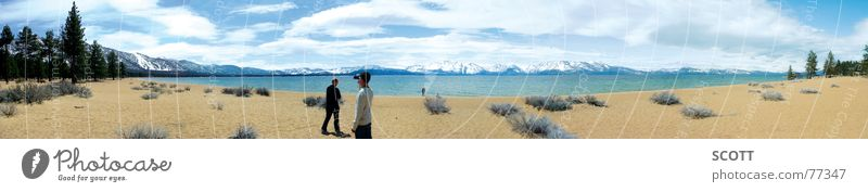 Panorama South Lake Tahoe Cold Bushes Panorama (View) Clouds Fir tree Beach California Nevada Mountain Water Sand Sun USA Large Panorama (Format)