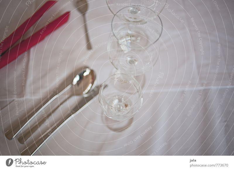 set Glass Cutlery Knives Fork Spoon Napkin Tablecloth Esthetic Elegant Set meal Colour photo Interior shot Deserted Neutral Background Day