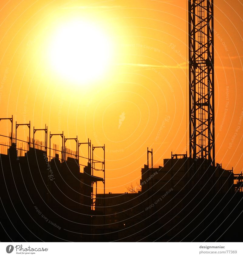 41 degrees Back-light Light Crane Black Yellow Construction site House (Residential Structure) Work and employment Parallel Hot Physics Frankfurt Europe Rod