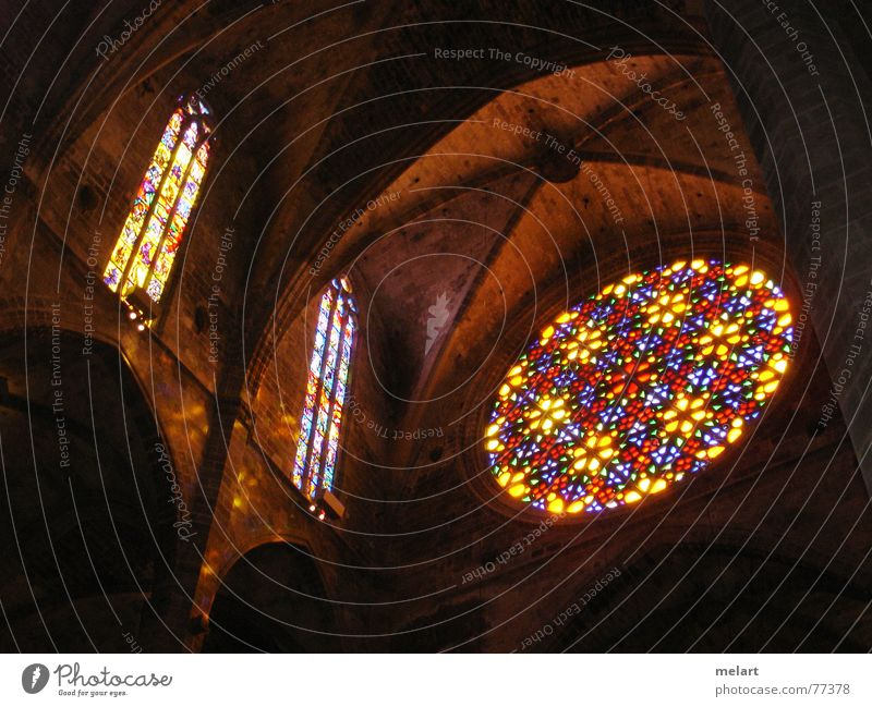 Plays of light in the cathedale Light Visual spectacle Multicoloured Spain Palma de Majorca Window Respect Calm Interior shot gas window Colour Cathedral