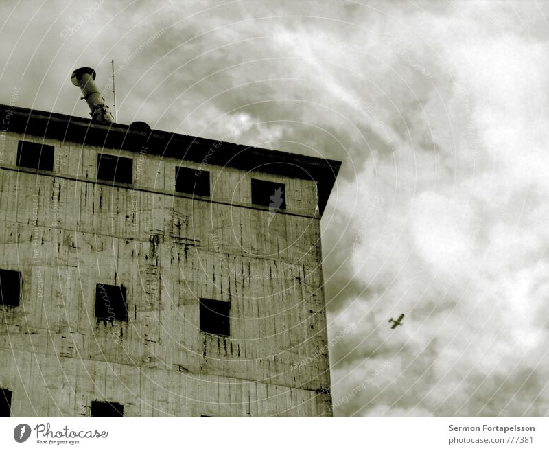 Old Sky House (Residential Structure) Loneliness Death Window Building Airplane Flying Concrete Grief Aviation Industrial Photography Broken End Tower