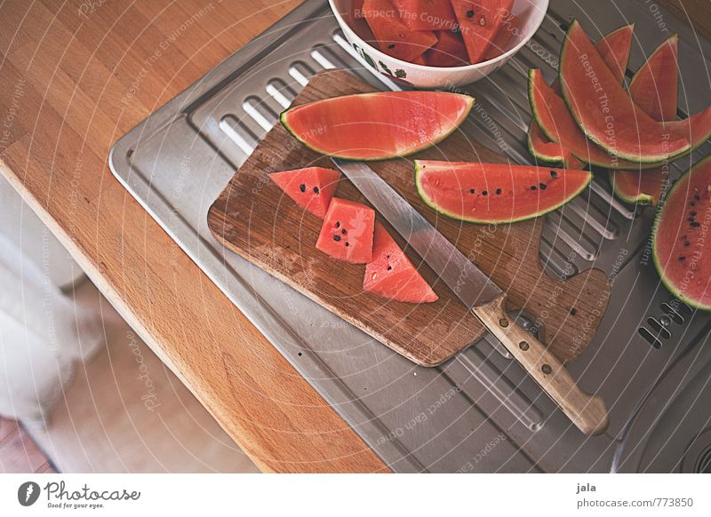 watermelon Food Fruit Water melon Knives Chopping board Living or residing Flat (apartment) Kitchen Kitchen sink Simple Fresh Healthy Delicious Natural Sweet