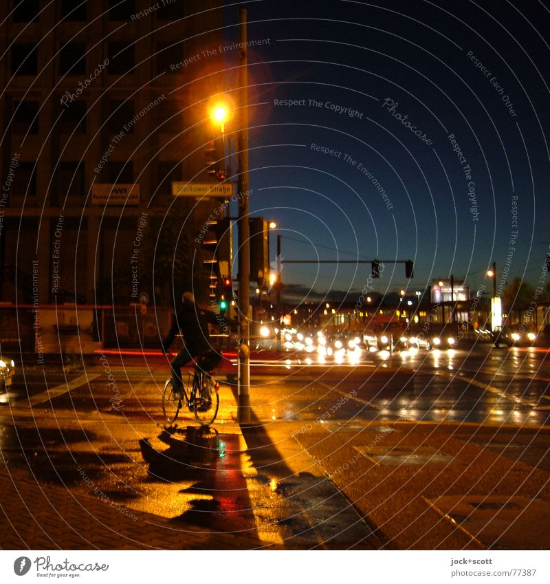 Human being Sky City Dark Street Car Transport Bicycle Wait Climate Cycling Berlin To hold on Lantern Trust Concentrate