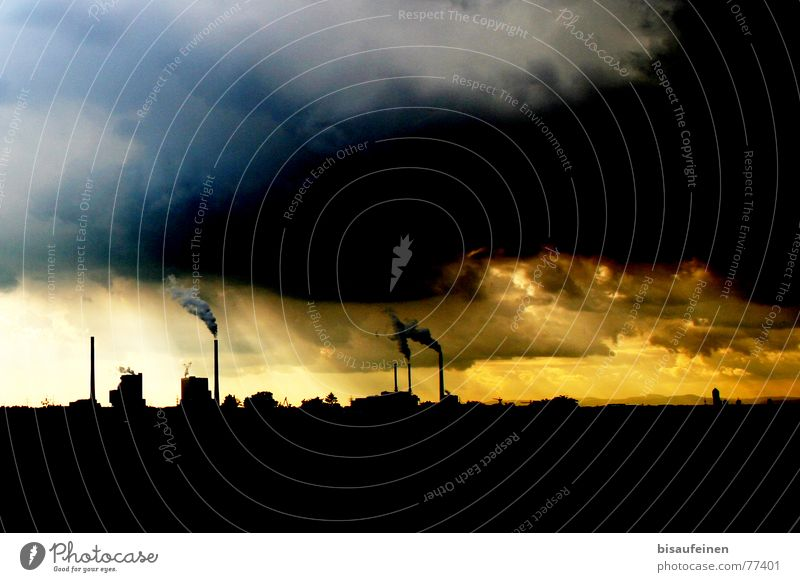 Sky Nature Blue Sun Clouds Yellow Landscape Horizon Energy industry Industry Industrial Photography Factory Skyline Smoke Exhaust gas Chimney
