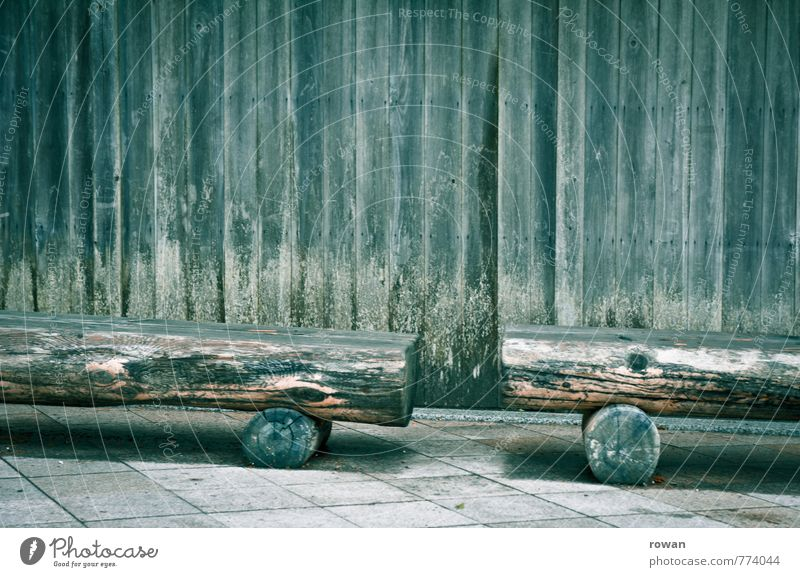 seating Wall (barrier) Wall (building) Old Weathered Wooden board Wooden facade Wooden hut Mold Moss Wooden bench Bench Break Damp Colour photo Subdued colour