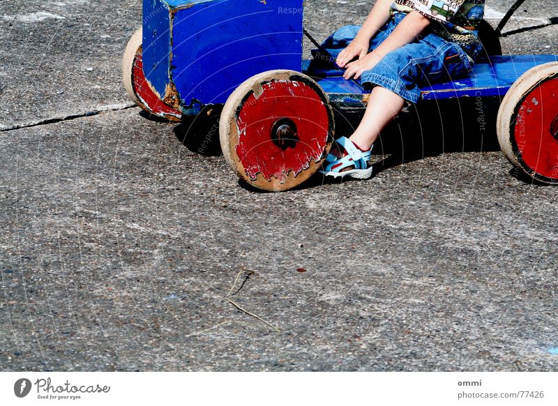 Child Blue Red Joy Cold Playing Boy (child) Wood Gray Small Stone Sit Concrete Retro Jeans Toddler