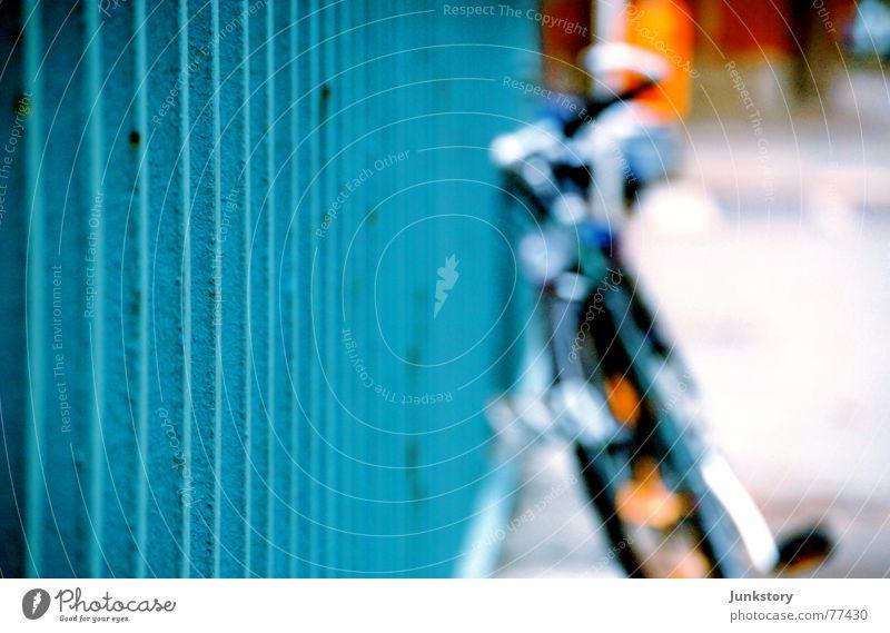 Bicycle in blue Steel Iron Rod Blur Autumn Blue Handrail fair north Rust