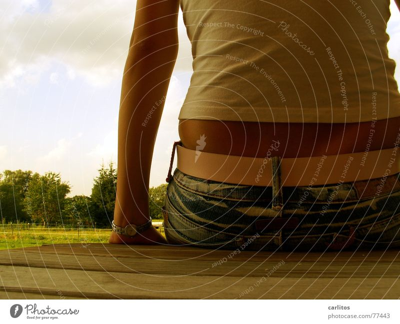 Woman Summer Feminine Back Sit Break Showing one's bellybutton
