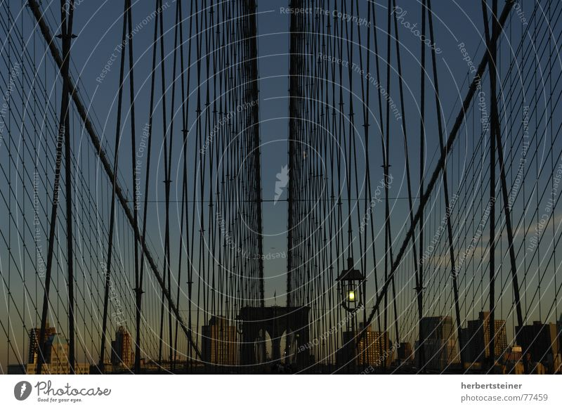brooklyn bridge New York City Grating Symmetry Dark Deserted Brooklyn Bridge Evening Sky Town