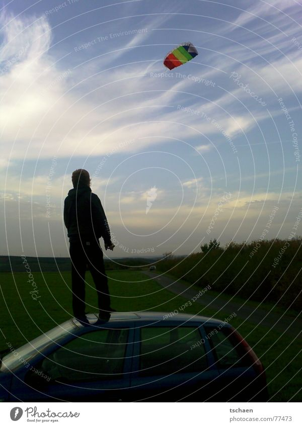 Sky Blue Meadow Wind Horizon Kite Car roof