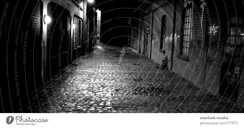 Street Dark Lanes & trails Fear Cobblestones Alley Night Curbstone
