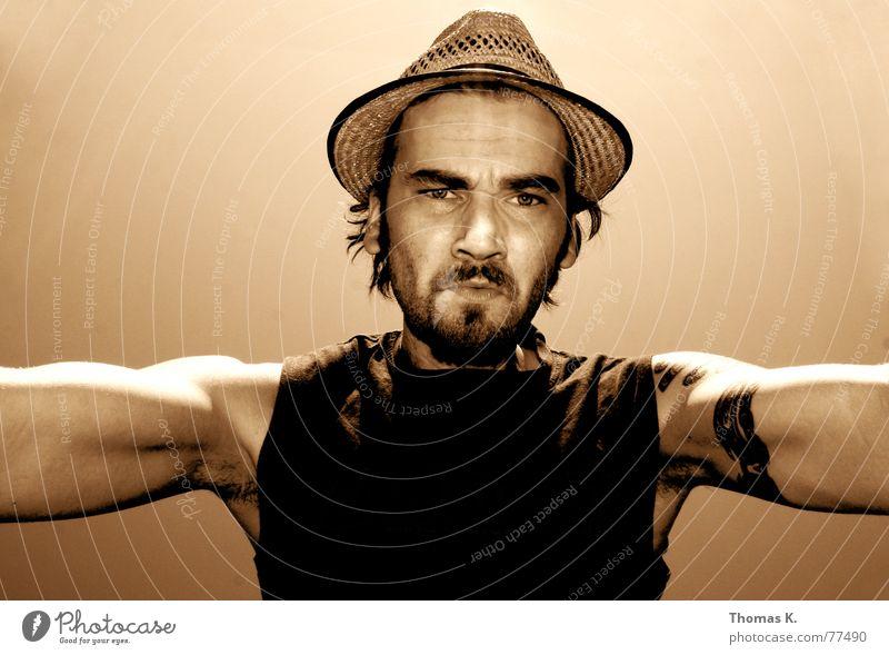 Human being Man Sky Power Arm T-shirt Facial hair Hat Top Tattoo Character Tank Headwear Straw hat Sleeveless