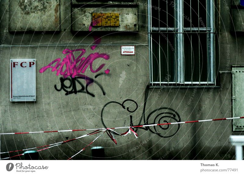 City Dark Window Wall (barrier) Graffiti Wet Facade Derelict Barrier Grating Spray Zone Front side Tagger