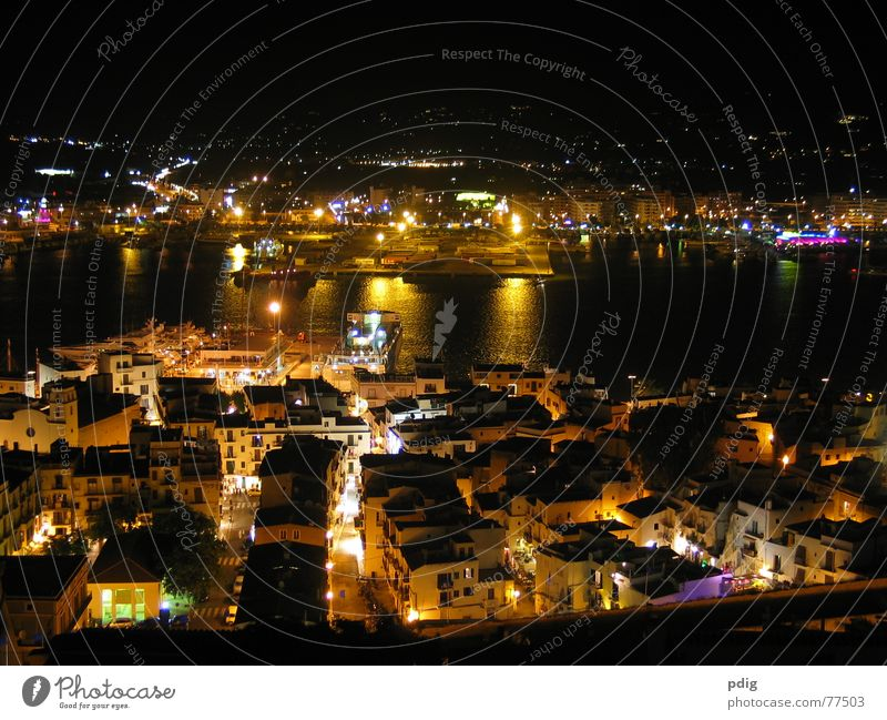 Ibiza by night Night Dark Harbour Light Water Lighting Street