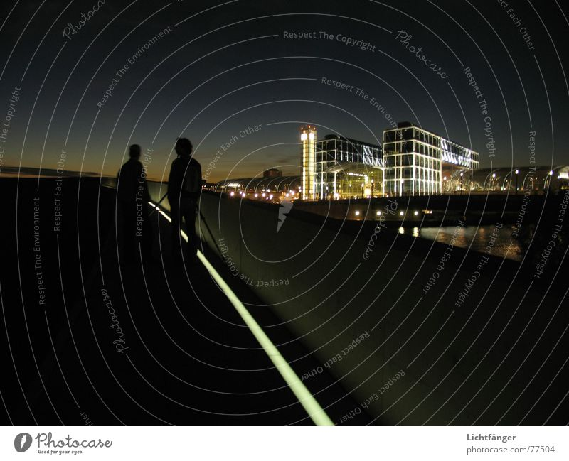 The Observation Stripe Light Audience Photographer Observe Exterior shot Long exposure Sky Evening Train station Central station Berlin Capital city Review