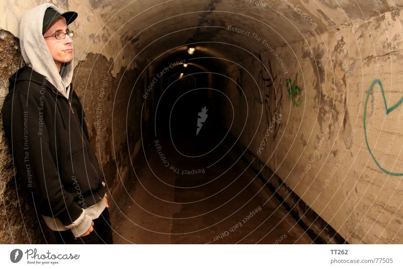 tunnel vision Tunnel Dark Man Eyeglasses Lamp Loneliness Human being Shadow