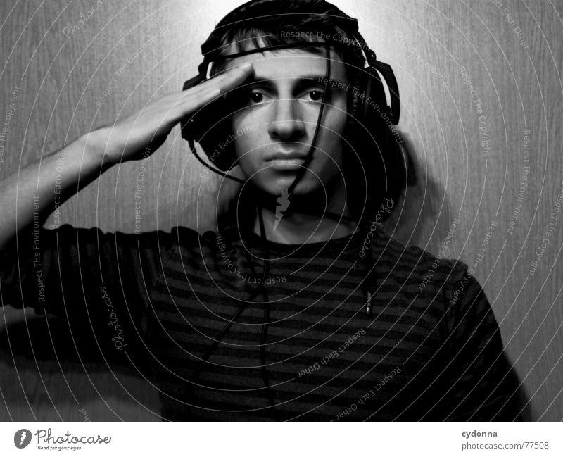 Human Child XV Man Portrait photograph Style Hand Posture Sweater Music Listening Headphones Light Roll call Stand to attention Subordinate Black & white photo