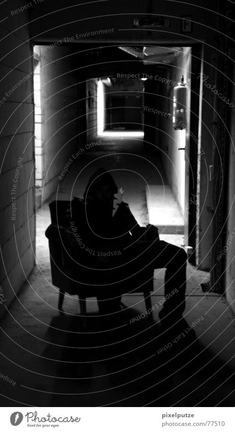 sitting and waiting Dark Black White Creepy Evil Tunnel Light Man Armchair Scare Extinguisher Narrow Broken Decline Moody Fear Panic Anger Aggravation