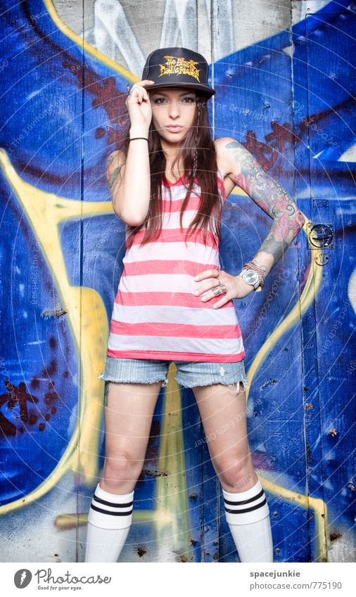 Human being Youth (Young adults) Blue Young woman Red 18 - 30 years Eroticism Yellow Adults Wall (building) Graffiti Feminine Wall (barrier) Style Exceptional Fashion