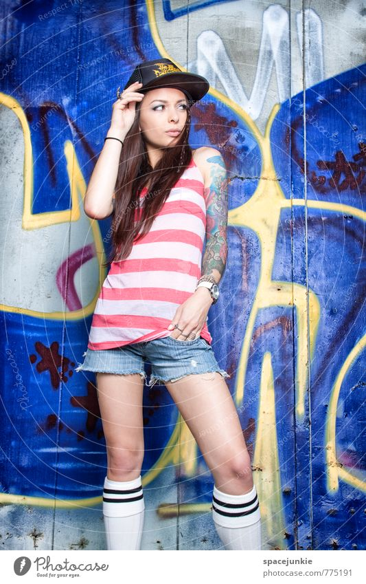 Skater Girl (2) Lifestyle Style Leisure and hobbies Human being Feminine Young woman 1 18 - 30 years Adults Wall (barrier) Wall (building) Facade Fashion