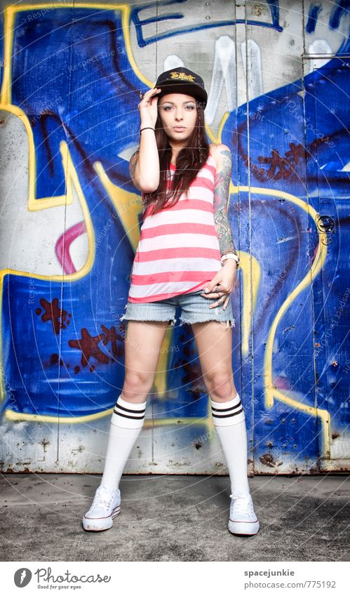 Human being Blue Young woman Red 18 - 30 years Eroticism Yellow Adults Wall (building) Graffiti Feminine Wall (barrier) Style Exceptional Fashion