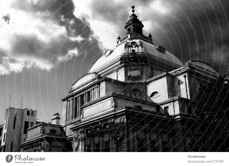 British Weather House (Residential Structure) Domed roof Black & white photo Clouds Dark England London Sky Vacation & Travel Historic Architecture Gloomy