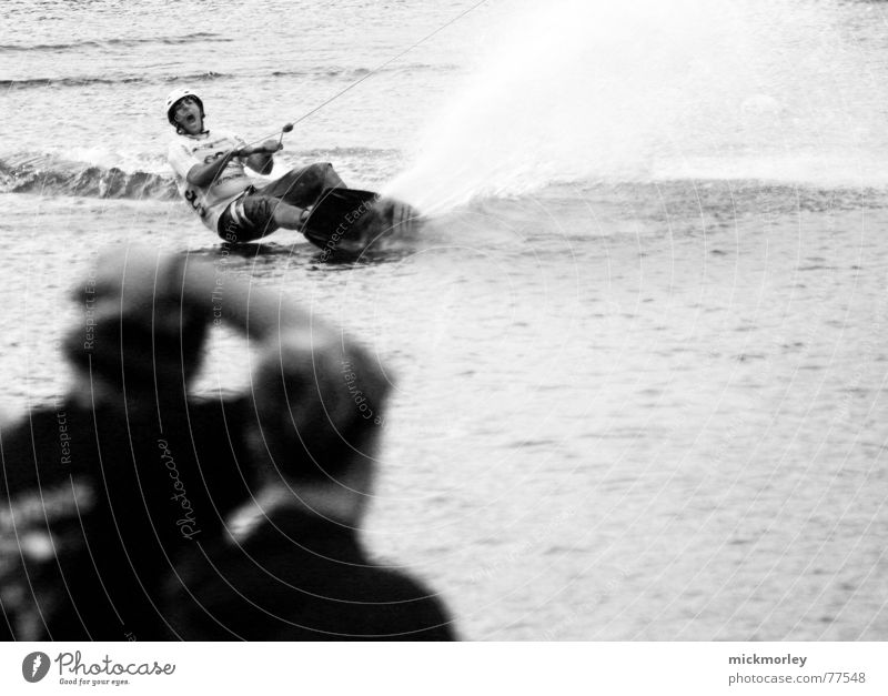 wakeboard Action Wakeboarding Splash of water Elevator Black & white photo Perspective