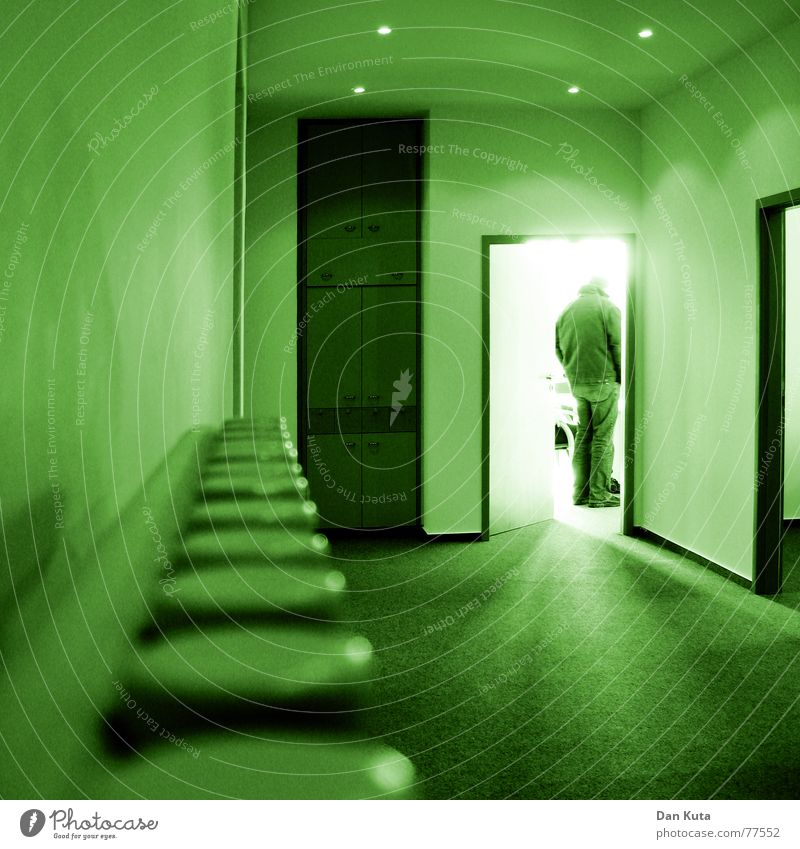 Human being Green Cold Work and employment Wall (building) Door Break Jacket Heater Blanket Carpet Employees & Colleagues Cupboard Beam of light Impersonal