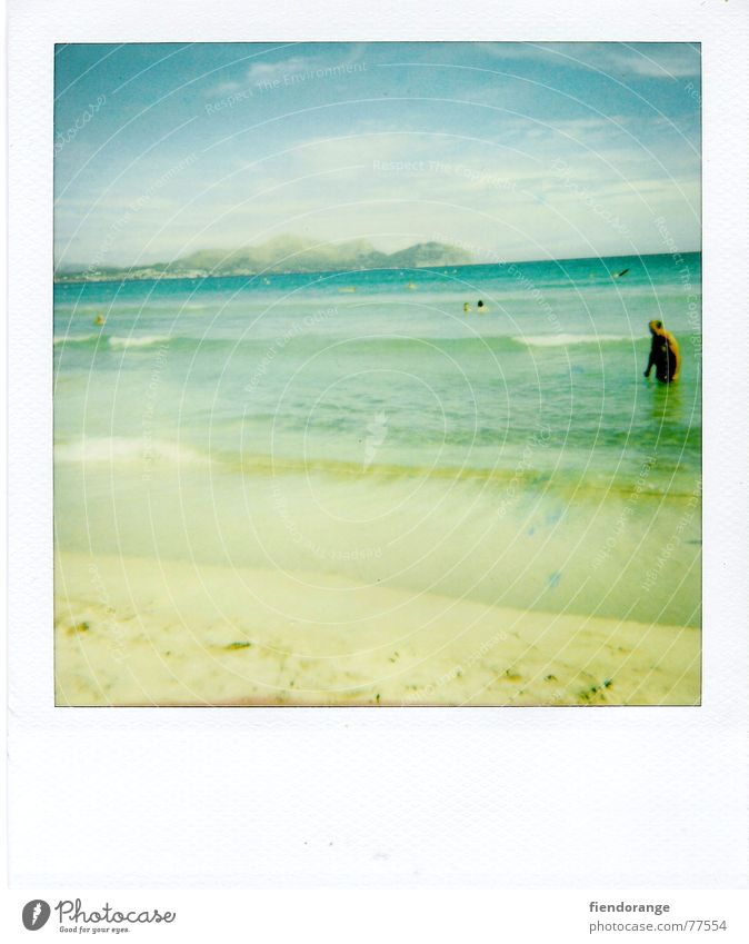 beach fun Ocean Beach Waves Man Leisure and hobbies Vacation & Travel Loneliness Yellow Barefoot Sun Water Sand Human being Polaroid Freedom Blue Sky well