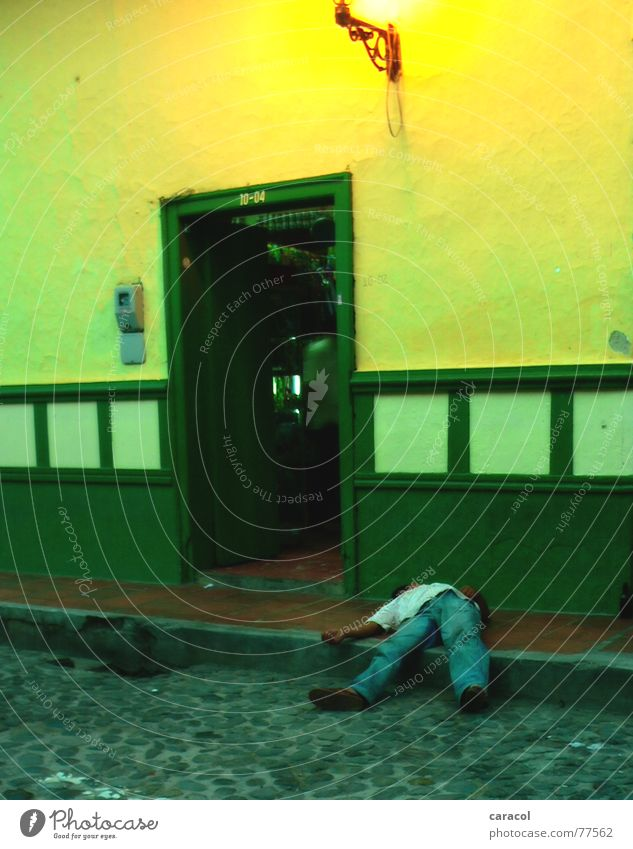 siesta Man Sleep Alcohol-fueled House (Residential Structure) Yellow Green Colombia Street Door sleeping drunk