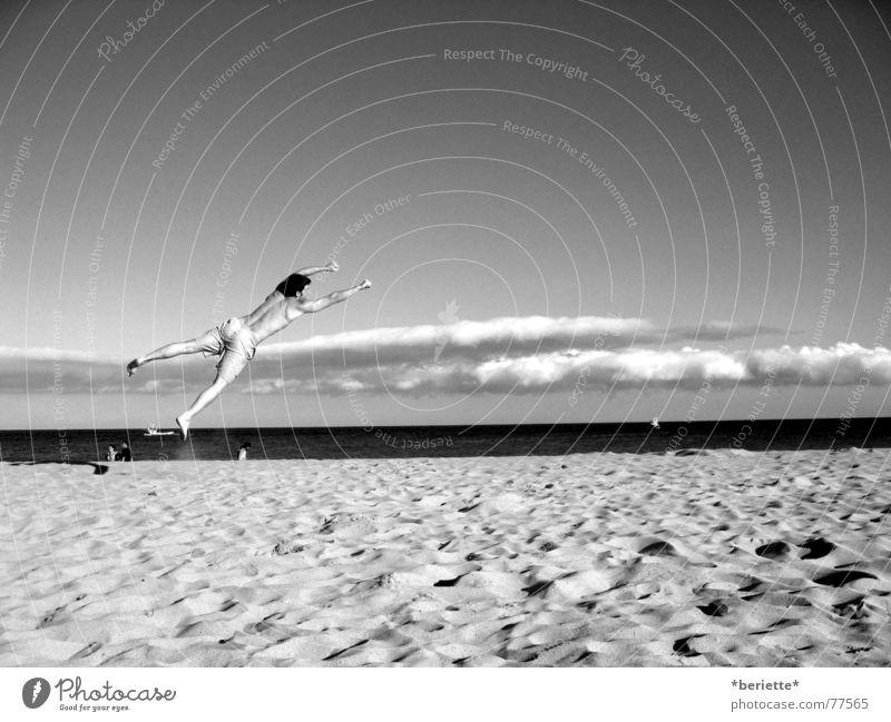 Sky Man Blue White Ocean Summer Beach Joy Clouds Black Warmth Freedom Sand Jump Funny Wet