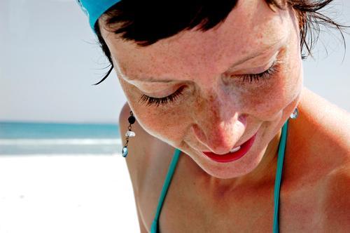 earring Portrait photograph Headscarf Bikini Woman Ocean Beach Turquoise Rügen Vacation & Travel Familiar Physics Calm Eyelash Rustling Horizon Freckles