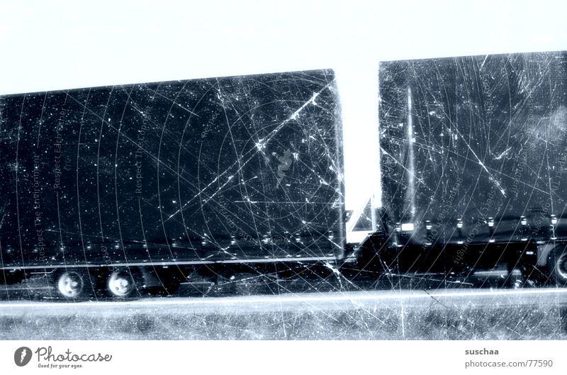 a truck and all that. Truck Highway Driving Speed Past Roadside Broken Stripe Scratch mark Wheel Street Blue