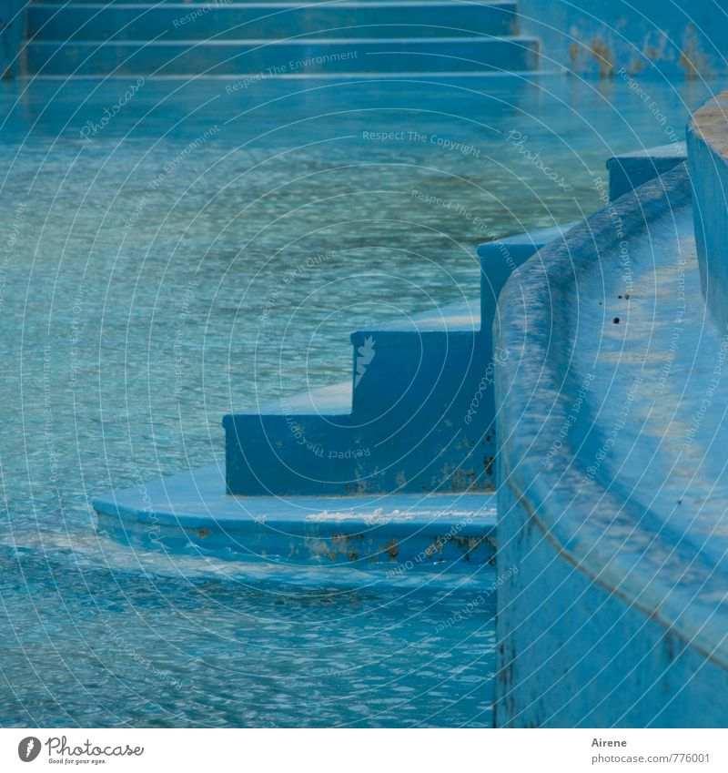 Into pleasure Sports Aquatics Swimming & Bathing Sporting Complex Swimming pool Open-air swimming pool Old Fresh Cold Blue Turquoise Wellness Light blue Stairs