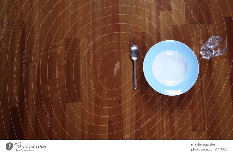 Always eat on the floor or what? Nutrition Parquet floor Wood Plate Spoon Empty Appetite Set meal Clean Light blue Baby blue White Food Glass Wait