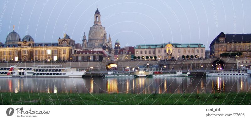 dresden in the glamour of the frauenkirche Dresden Night Light Romance Set Town Saxony House (Residential Structure) Panorama (View) Watercraft Elbe