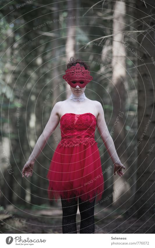 red Carnival Human being Feminine Woman Adults 1 Forest Dress Mask Red Colour photo Exterior shot Upper body Front view