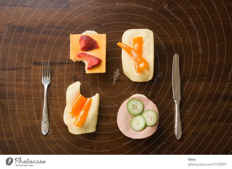 Dinner for One Food Sausage Cheese Roll Pepper Cucumber Strawberry Nutrition Breakfast Banquet Finger food Knives Fork Table Delicious Clean Appetite Divide