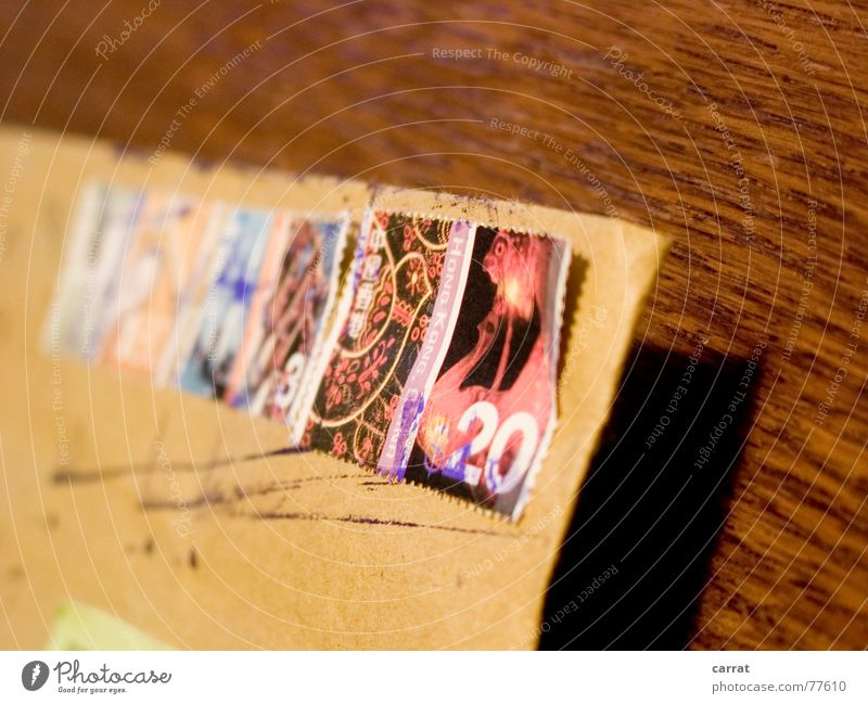 Vacation & Travel Old Far-off places Brown Signs and labeling Letter (Mail) Collection Chic Foreign Pistil Delivery Register Stamp