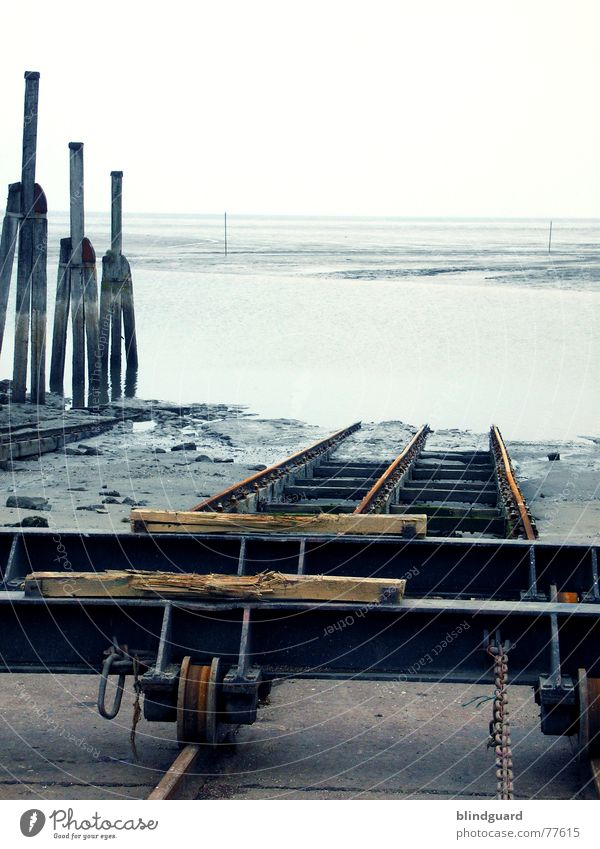 Ocean Sand Watercraft Wind Horizon Railroad tracks Chain North Sea Repair Mud flats High tide Low tide Schleswig-Holstein March Shipyard Neuharlingersiel