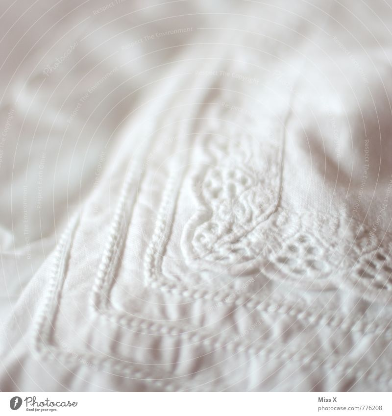 embroidered Bed Clean White Cleanliness Purity Lace Cushion Duvet Pillow Cotton Ornament Cloth pattern Textiles Colour photo Subdued colour Interior shot